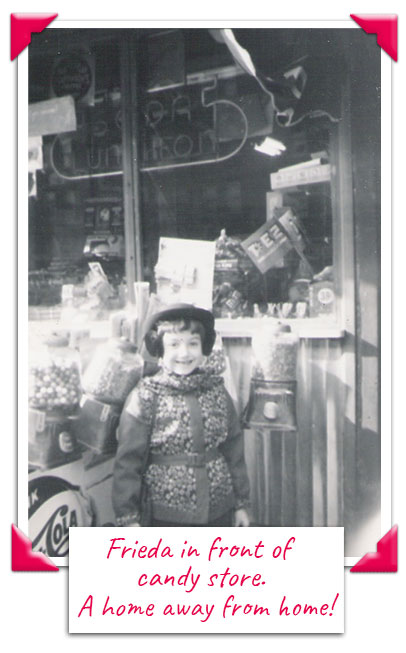 Frieda Wishinky as a child in front of a candy store
